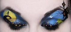 Nightmare Before Christmas eye make up mural.this page has other clever eye make up ideas like this! Disney Eye Makeup, Eye Makeup Art, Eye Art, Horror Makeup, Eyeshadow Makeup, Bat Makeup, Makeup Jobs, Makeup Contouring, Fairy Makeup