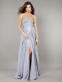 Empire Sweetheart Beaded Long Chiffon Prom Evening Maternity Dresses 601055