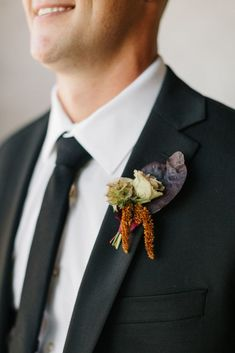 Rose, greenery, and hops bohemian boutonniere in Lakeland, Florida near Tampa | Ashton Events