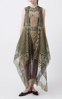 Gold Striped Embroidery Dress With Zipper by Saptodjojokartiko