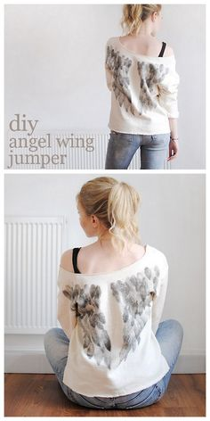 DIY Stamped Angel Wings Sweatshirt Tutorial from This Fashion is Mine. This may look like an expensive DIY at first because you need 8 feather stamps (4 of varying sizes for each side), but it's not. Sticky back foam is used for the stamps and can be mounted on wood blocks or heavy cardboard. For pages of sweatshirt DIYs go here: truebluemeandyou.tumblr.com/tagged/sweatshirt