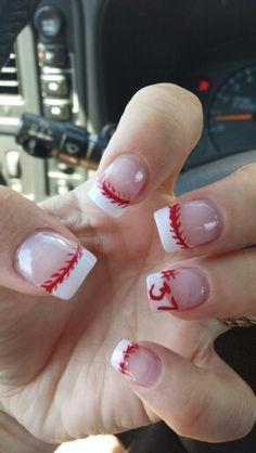 white tips baseball nails - Google Search