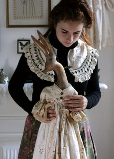 Doll Maker Pantovola with her doll 'Hettie the Hare'
