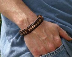 Men's leather Bracelet Men's Copper and Brass door ColeTaylorDesigns