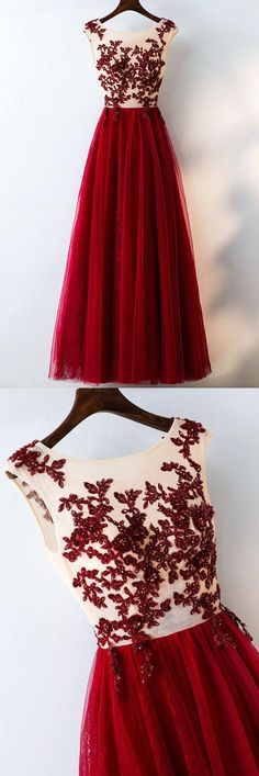 Burgundy Tulle Lace Applique Long Prom Dress,Cap Sleeve Sheer Beaded Formal Dress,A-Line Evening Dress