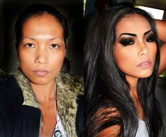 ...before & after. makeup sure does work wonders.