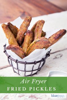 This recipe for Dill Fried Pickles are air-fried instead of deep fried. With a dill-breadcrumb coating, they deliver a punch of flavor and are guilt-free! Fried Pickle Spears, Fried Dill Pickles, Air Fry Recipes, Oven Recipes, Side Recipes, Dinner Recipes, Great Appetizers, Appetizer Ideas, Sauce