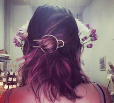 Hammered Brass  Bun Pin - Hair Slide - Brass Hair Clip - Geometric Hair accessory - Hair Jewelry - Geometry by RachelPfefferDesigns on Etsy https://www.etsy.com/listing/448686120/hammered-brass-bun-pin-hair-slide-brass