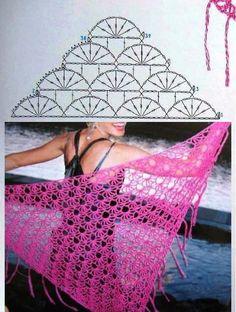 Chal en rosa para las noches de verano, en crochet.