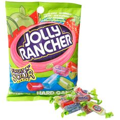 Case includes 12 – 3.8-oz. bags of Jolly Rancher® hard candy in fruit n' sour flavors of green apple, blue raspberry, cherry, watermelon, and wild strawberry.