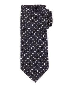 Flower & Dot-Print Silk Tie, Navy - Boss Hugo Boss