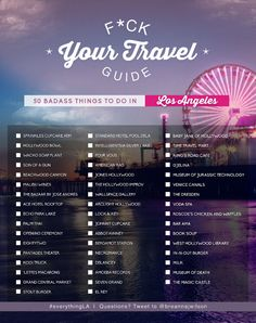 F*ck Your Travel Guide: 50 Badass Things to do in LA F * ck Uw reisgids: 50 Badass Dingen om te doen in LA Oh The Places You'll Go, Places To Travel, Travel Destinations, Travel Usa, Travel Tips, Travel Ideas, Italy Travel, Los Angeles Travel Guide, Moving To Los Angeles