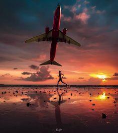 Plane, Aviation, Aircraft, Photoshop, Sunset, Film, Beach, Creative, Instagram