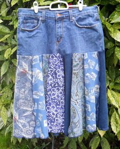 upcycled jeans to skirt -- love the use of blues
