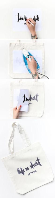 Learn how to make this DIY Iron Transfer Tote in only 20 minutes! Learn how to make this DIY Iron Transfer Tote in only 20 minutes! Creative Crafts, Fun Crafts, Diy And Crafts, Diy Projects To Try, Craft Projects, Project Ideas, Cool Diy, Easy Diy, Ideias Diy