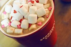 Love this for Valentine's Day... hot chocolate with marshmallows and heart sprinkles :)