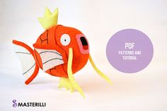 The best pattern! Pokemon Magikarp Felt Stuffed Toy Sewing Patterns and Tutorial #pattern #magikarp #pokemon #toysewing
