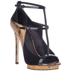 B BRIAN ATWOOD Campisa Evening Sandal Gold Snake/Black Suede ($280) ❤ liked on Polyvore featuring shoes, sandals, heels, black shoes, black, black suede, platform sandals, gold t strap sandals, black evening sandals and heeled sandals