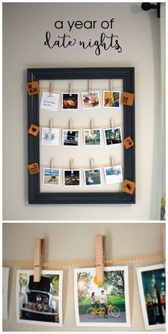 The perfect DIY Valentine's Day gift for your loved one. Create a super easy, yet adorable, year of date nights display using an old frame, baker's twine, clothespins, and some square pictures!