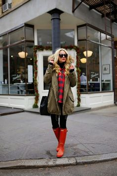 Atlantic Pacific wearing Hunter Original Tall boots in red