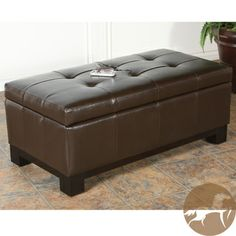 @Overstock.com.com - Christopher Knight Home Bonded Leather Storage Ottoman with Tufted Top - This brown bonded leather storage ottoman makes a great addition to a family room or bedroom. It's spacious storage area is perfect for storing extra blankets and magazines, and the plush top padding provides additional seating for guests.  http://www.overstock.com/Home-Garden/Christopher-Knight-Home-Bonded-Leather-Storage-Ottoman-with-Tufted-Top/5119565/product.html?CID=214117 $146.20