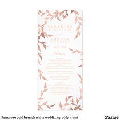 Faux rose gold branch white wedding menu