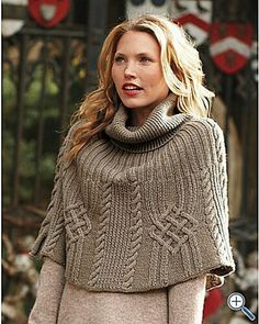 Ravelry: Project Gallery for Michael Kors Cape pattern by Michael Kors from Vogue Knitting, Fall 2007 Vogue Knitting, Hand Knitting, Knitting Yarn, Knitted Poncho, Knitted Shawls, Poncho Shawl, Knit Or Crochet, Crochet Shawl, Classic Elite Yarns
