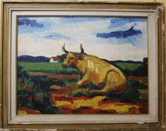Inimá de Paula - Vaca - Oleo sobre Eucatex - Assinado e datado de 1979 - med 46 x 60 cm.