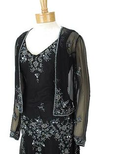 Roaring 1920s flapper style dresses-gatsby era beaded black chiffon handkerchief hem dress