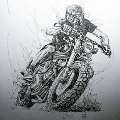 Illustration by Hafidz Musa Motorcycle Art, Bike Art, Motorcycle Birthday, Motorcycle Wheels, Art Moto, Drawing Sketches, Art Drawings, Bike Sketch, Moto Cross