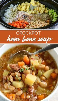 Crockpot Ham bone Soup Recipe Ham Bone Soup, Ham Soup, Crock Pot Soup, Slow Cooker Recipes, Crockpot Recipes, Soup Recipes, Cooking Recipes, Easy Recipes, Ham Bone Recipes