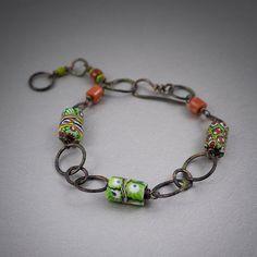 Millefiori verre vénitien perle bracelet bijou par entre2et7