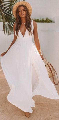 White Gowns, White Maxi Dresses, Spring Dresses, Nice Dresses, Awesome Dresses, White Maxi Dress Casual, White Dress Summer, Casual Dresses, Dresses Dresses