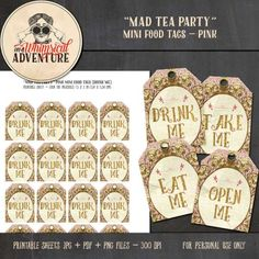 Personal Use :: Hybrid :: The Pink Mad Tea Party Mini Food Tags