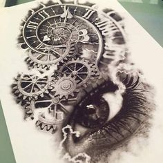 This appears to be the inside workings of some sort of clock which are situated directly above the open eye of what may be a woman. There is either smoke or some type of current running or joining each corner of the eye to the clocks working parts. Nature Tattoos, Body Art Tattoos, New Tattoos, Sleeve Tattoos, Clock Tattoo Design, Tattoo Designs, Tattoo Sketches, Tattoo Drawings, Trendy Tattoos