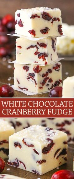 This White Chocolate Cranberry Fudge is made with sweetened condensed milk + dried cranberries! It's a super easy & quick dessert with Christmas colors! desserts for christmas White Chocolate Cranberry Fudge Recipe Köstliche Desserts, Holiday Desserts, Holiday Baking, Holiday Recipes, Delicious Desserts, Dinner Recipes, Food Deserts, Cranberry Recipes Easy, White Christmas Desserts