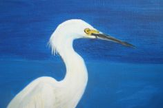 Egret Oil Painting canvas panel 11 X 14 inches by MARVINSTUDIO, $45.00