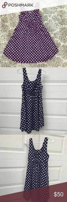 Anthropologie Size 6 Blue & White Polka Dot Dress 100% cotton. Machine washable. Great for work or a bridal or baby shower. Vanessa Virginia brand. Anthropologie Dresses Midi