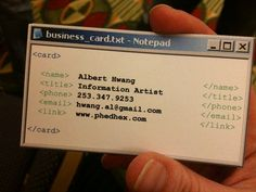 This is my new favorite business card. It really looks like one is holding a notepad file!