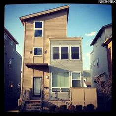 Not a fan of mod, pre-fab in older neighborhoods, but these Detroit-Shoreway digs in CLE are kind of cute. Edgewater Park, Downtown Cleveland, Battery Park, Lake Erie, The Neighbourhood, Eco Friendly, Sweet Home, Urban, Mansions