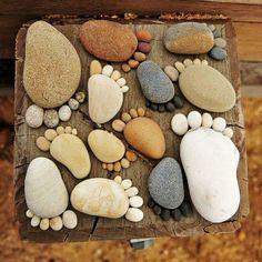 easy artsy garden projects with stones, then spray with glow in the dark spray paint!