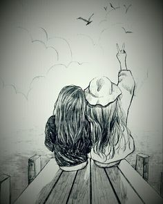 Picture result for best friends drawing The post Picture result for best friends drawing appeared first on Woman Casual - Drawing Ideas Best Friend Sketches, Friends Sketch, Best Friend Drawings, Bff Drawings, Drawing Sketches, Drawing Ideas, Best Drawing, Friends Drawing, Art Du Croquis