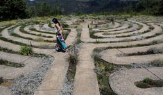A tourist walking through one of the biggest labyrinths in South Africa, in Hogsback. The tiny town is famous for its spiritual activities and has crystal healers, yogis, hippies and the like living in the mountaintop town. Walking Meditation, Meditation Videos, Labyrinth Garden, Labyrinth Walk, Labrynth, Moon Garden, Beautiful Mind, Before Us, Pilgrimage