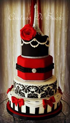 Paris in red, black and white cake--- pretty, but the red cake with the black belt looks like Santa (would be pretty in burgundy or other colors