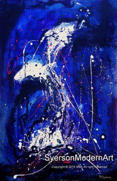 Jazz Blue Ice Abstract Expressionist Giclee Canvas Print Modern Art Contemporary Cool Tones Drip