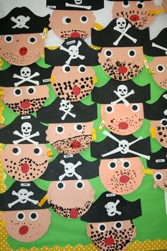 A Pirate's Life For Me! Our pirate unit had us shivering with delight! Our literacy center featured, How I Became A Pirate . Pirate Preschool, Pirate Activities, Art Activities, Preschool Crafts, Deco Pirate, Pirate Art, Decoration Pirate, The Pirates, Pirates For Kids
