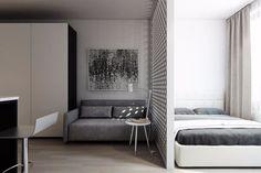 Дизайн прямоугольной студии с одним окном в стиле минимализм - Дизайн интерьеров   Идеи вашего дома   Lodgers