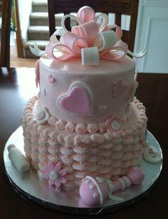 Baby Shower Cake Baby Shower Cake Designs, Baby Shower Cakes Neutral, Baby Shower Fruit, Torta Baby Shower, Beautiful Cakes, Amazing Cakes, Cakes Without Fondant, Baby Birthday Cakes, Baby Cookies