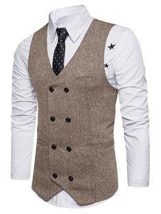 Belt Design Double Breasted Waistcoat - KHAKI XL