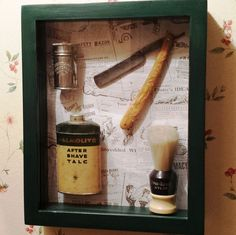 Better pic of antique shaving shadow box | Vintage barber Items